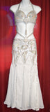 Mermaid Style Belly Dance Costume with White with Silver Beads and Sequins