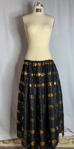 Black, Gold, & Purple Metallic Designs Chiffon Skirt