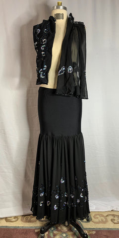 Black Sheer Mermaid Style Skirt with Arm Gauntlets & Decorative Sleeve