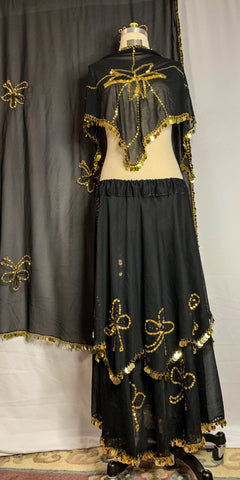Black Chiffon Double Layer Gold Sequin Skirt with Veil and Decorative Scarf
