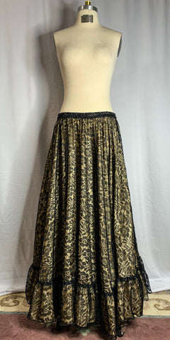 Black Floral Lace Over Silky Beige Skirt