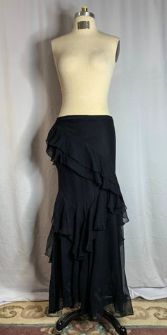 Black Silk Acetate Fitted Skirt with Ruffles