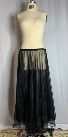 Black Sheer Circle & A Half Silver Sequined Trim Skirt
