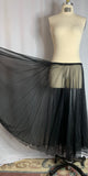 Black Sheer Circle & A Half Silver Sequined Trim Skirt - Flaired
