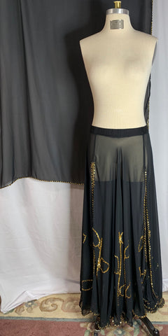 Black Chiffon & Gold Sequin Accents & Trim Skirt with Decorative Veil