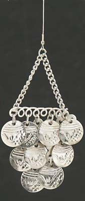 Silver Dangle Earrings with Chain and Three Rows of Coins on French Hooks