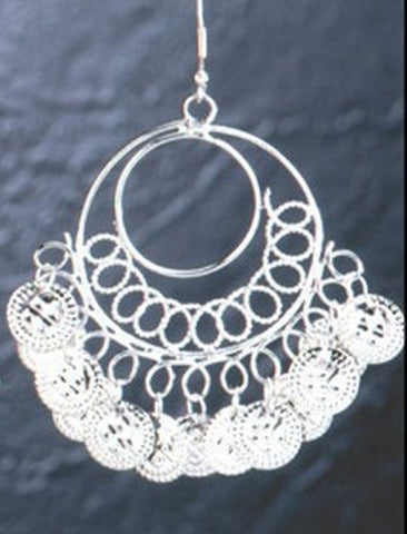 Silver Earrings with Loops and Hoops and Coins