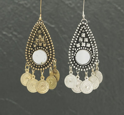 Teardrop Antique-Style Earrings with Mirrors and Coins