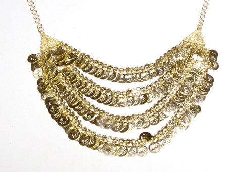 Gold Belly Dance Style, Four Row Coin Necklace