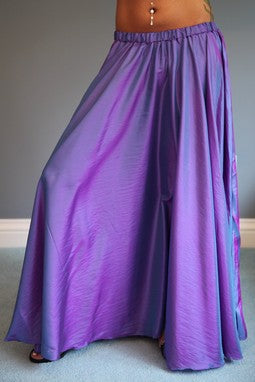 Full Circle Purple Belly Dance Skirt with No Slits