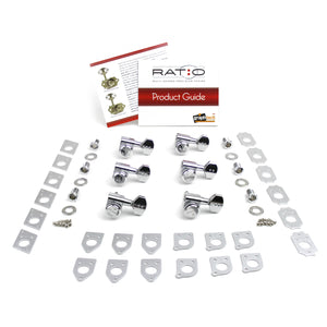 Ratio Electric Locking Machine Heads 6 in-line (staggered posts) - (please select finish and button style) - Graph Tech Guitar Labs Ltd.