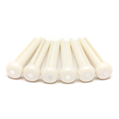 TUSQ Traditional Bridge Pins White With 2mm MOP Dot