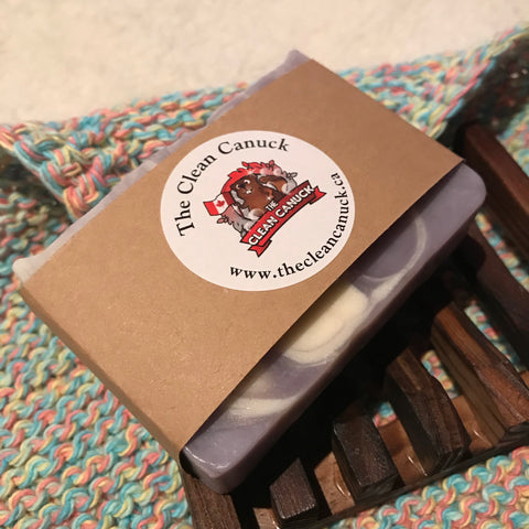 All Natural Bar of Soap with Handcrafted Wooden Holder and Knitted Dish Cloth