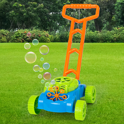 JMe Bubble Machine Toy - Electronic Bubble Lawn Mower with 6 Bubble Wands and Bubble Refill Bottle