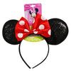 Minnie Mouse Sparkled Ear Shaped Headband with Red Bow Disney Official Licensed