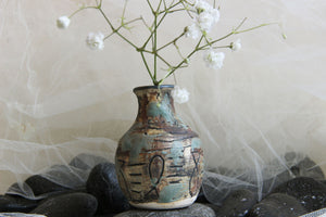 ancient-looking-carved-handmade-unique-stoneware-pottery-bud-vase