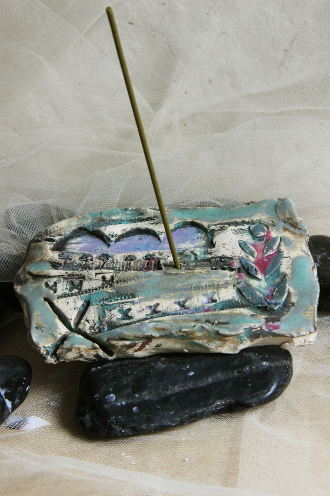 lovely-unique-carved-painted-handmade-pottey-stick-incense-holder
