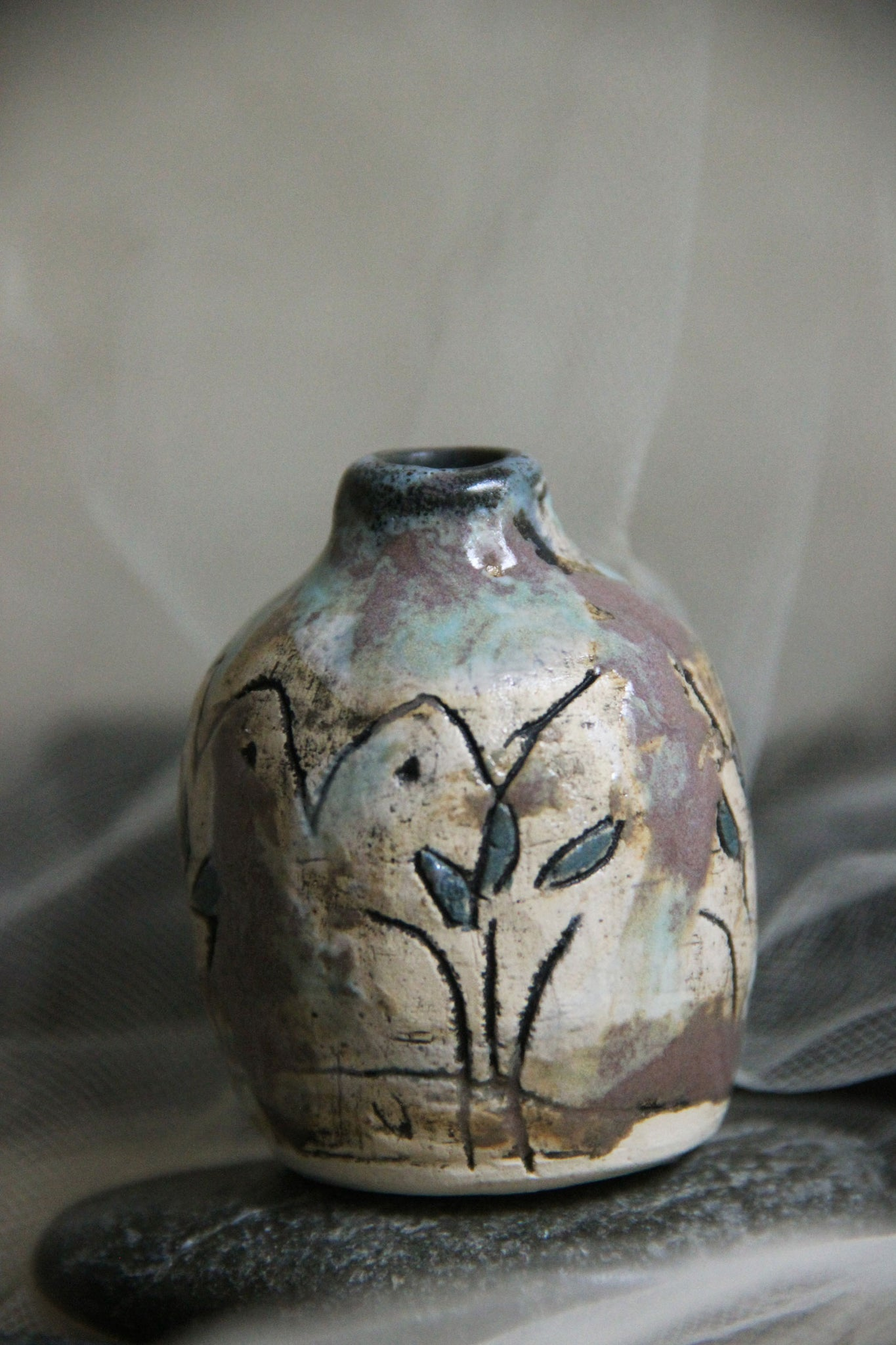 colorful-tiny-handmade-carved-stoneware-ceramic-bud-vase