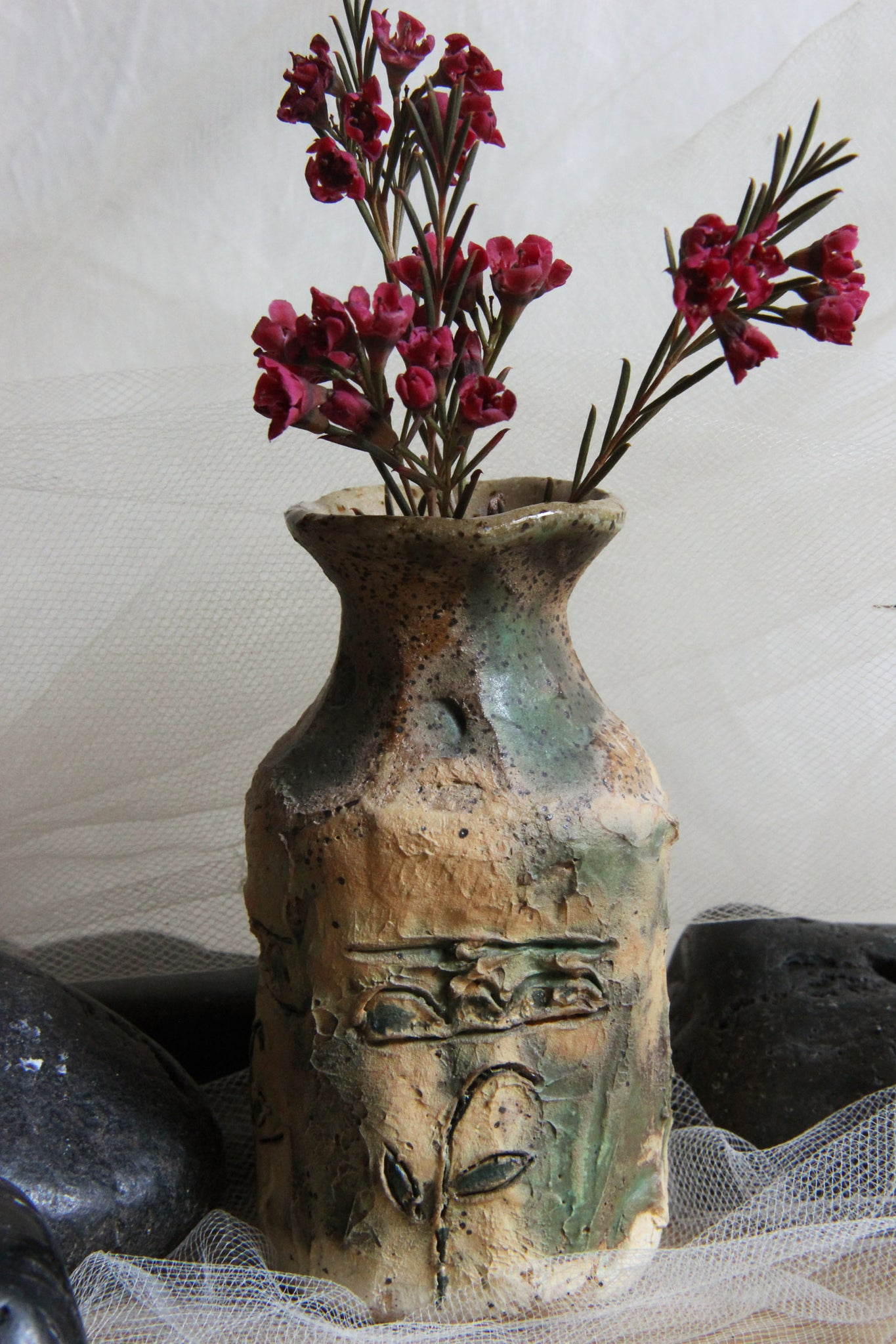 small-carved-flower-handmade-pottery-square-bottle-vase