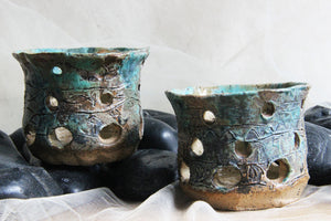 stunning-pair-carved-stoneware-handmade-ceramic-tealight-candle-holder