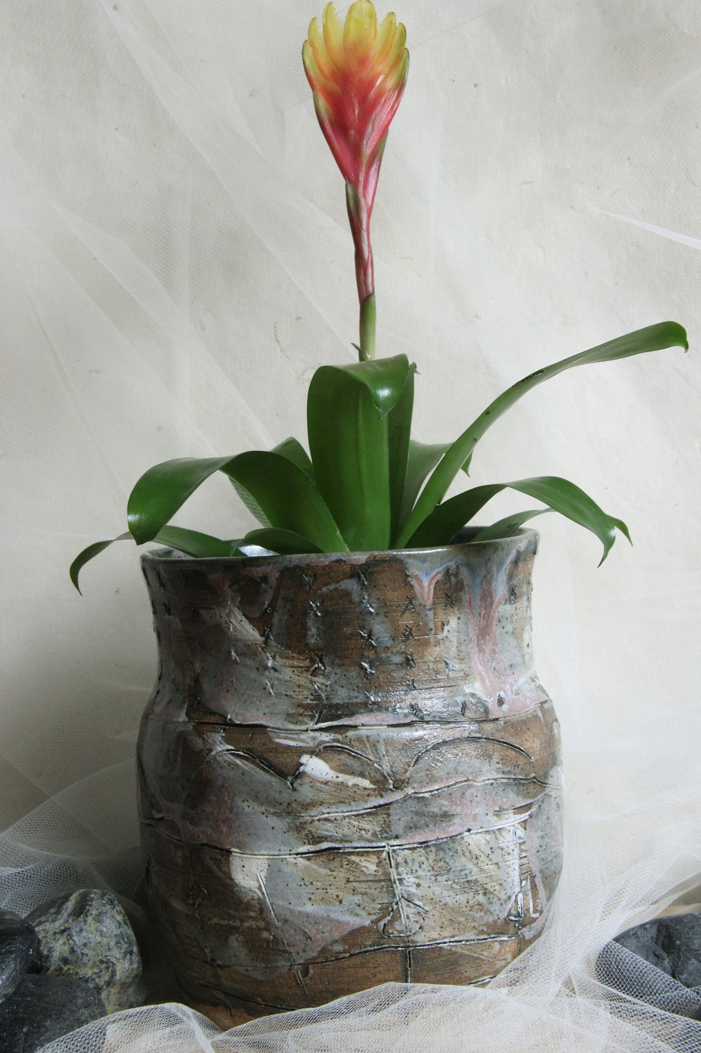 beautiful-carved-unique-handmade-stoneware-ceramic-flower-pot