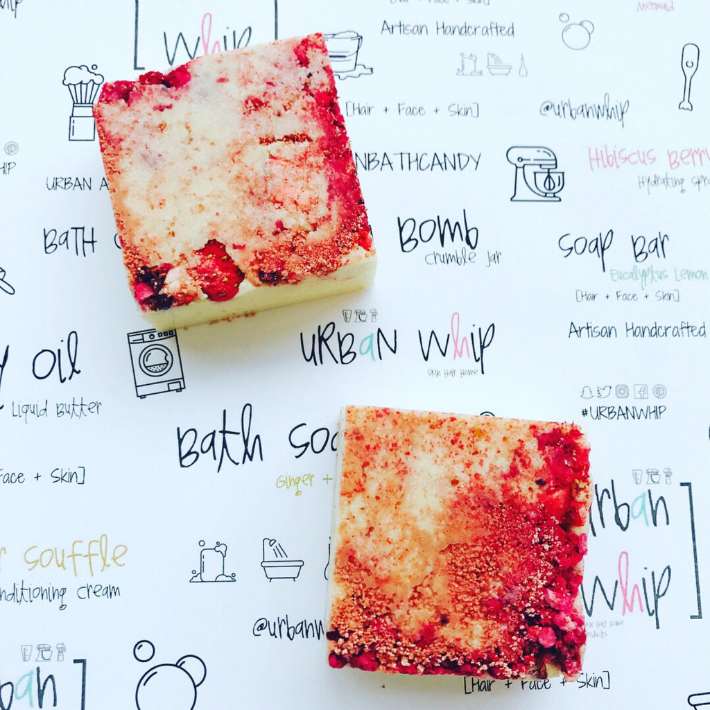 White Chocolate + Berries Bubbling Butter Bar Sqaure