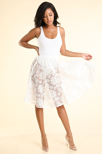 Good Girl White lace Skirt - Alvy Luxe