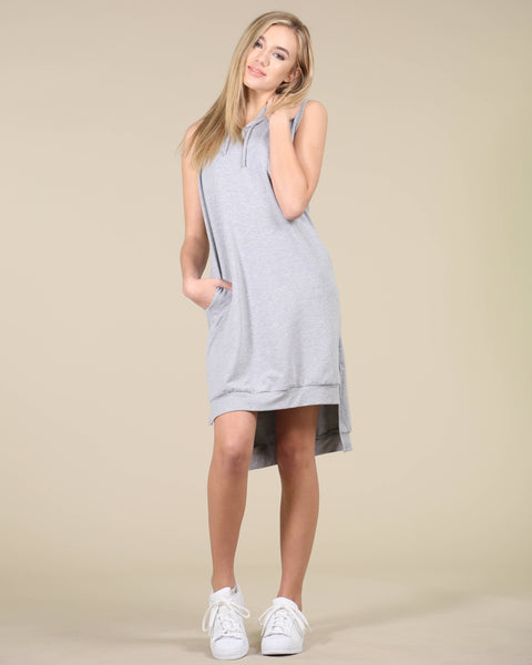Nice Girl Grey Hooded dress