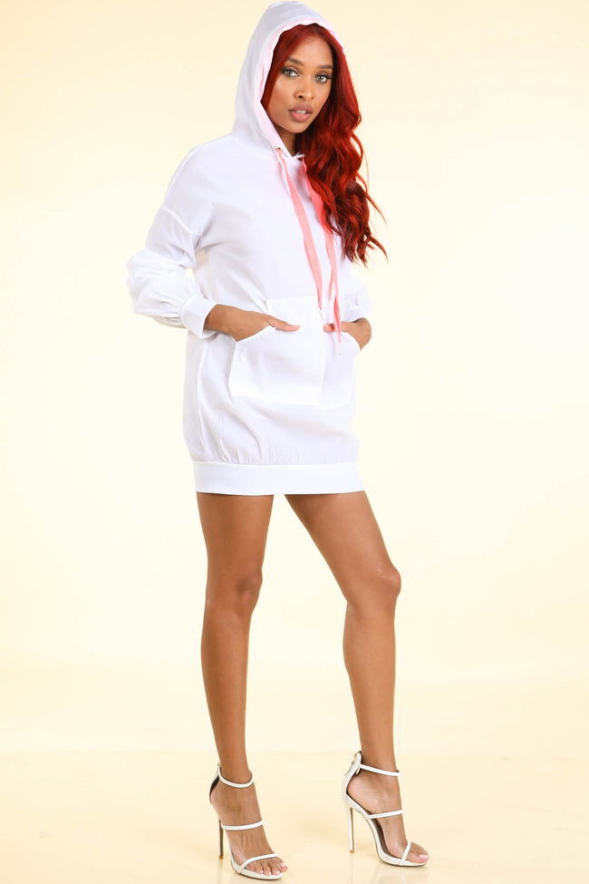 Riri White Hoodie Windbreaker  Dress