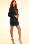 Riri Black Hoodie Windbreaker  Dress