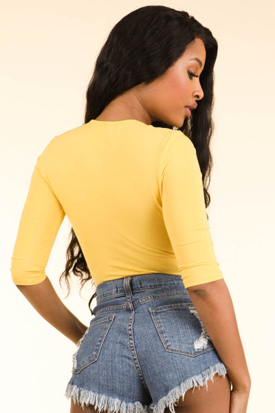 High Waisted Yellow Bodysuit - Alvy Luxe