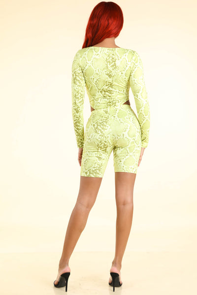 Say NA Snake printed Bodysuit Set