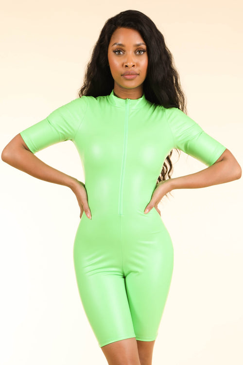 Lucid Dream Neon Green Satin Romper