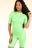 Lucid Dream Neon Green Satin Romper - Alvy Luxe