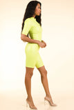 Lucid Dream Neon Yellow Satin Romper