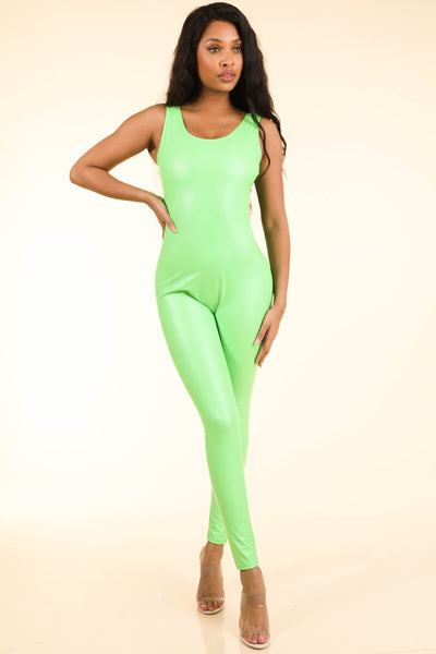 Popular Satin Neon Green Catsuit