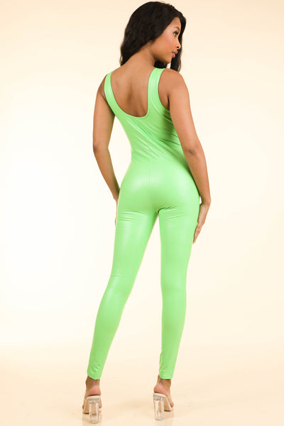 Popular Satin Neon Green Catsuit - Alvy Luxe
