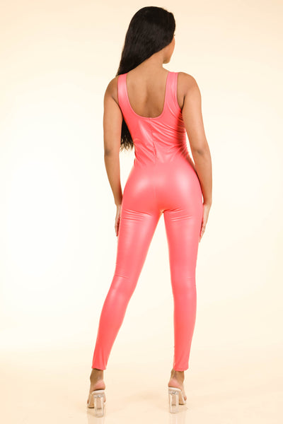 Popular Satin Coral Catsuit - Alvy Luxe