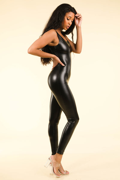 Popular Satin Black Catsuit - Alvy Luxe
