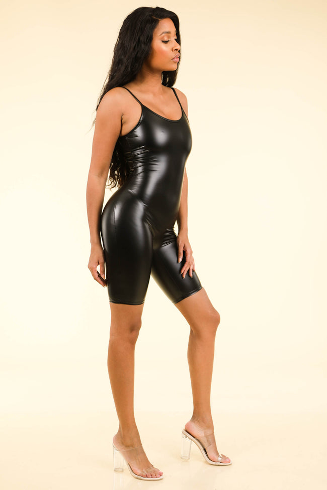 Alexis Black Satin Biker Bodysuit