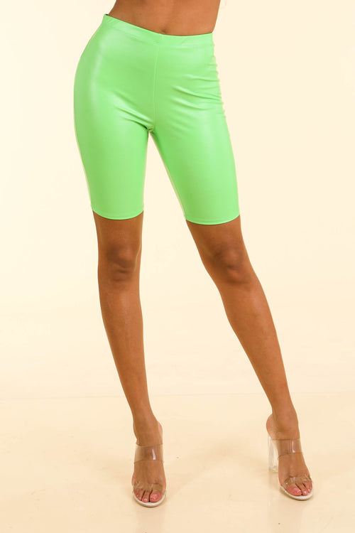 Loud Neon Green Satin biker shorts