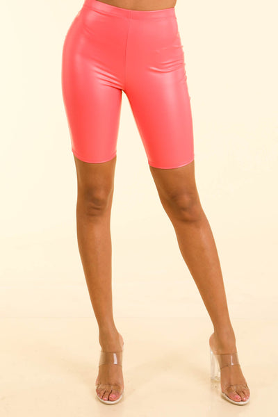 Loud Coral Satin biker shorts