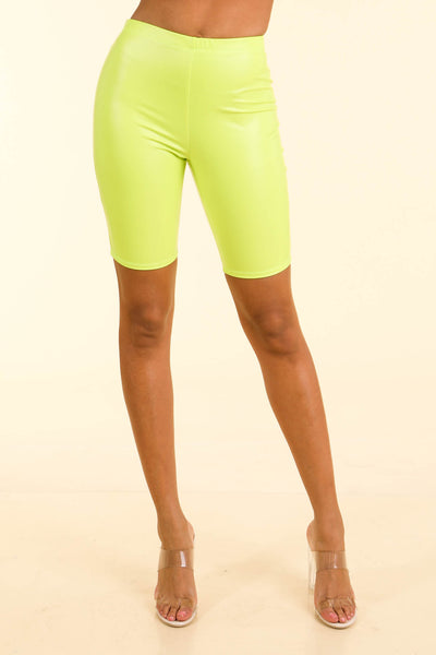 Loud Neon Yellow Satin biker shorts - Alvy Luxe
