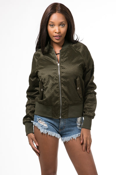 The Air Mesh Bomber Olive Jacket