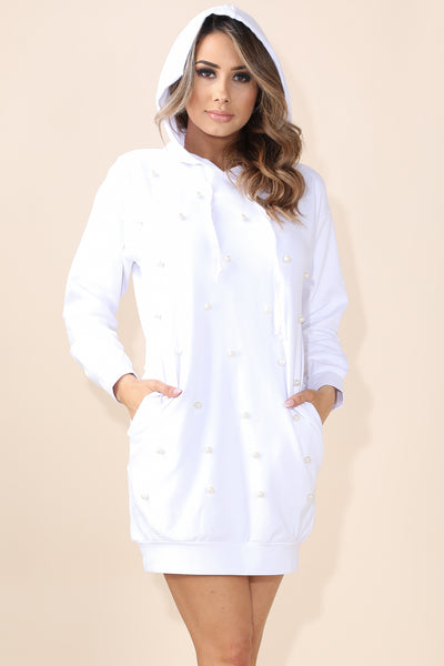Pearl Over sizes White Hoodie - Alvy Luxe