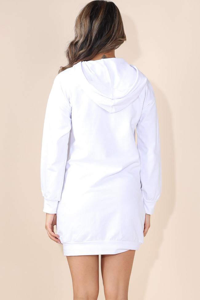 Pearl Over sizes White Hoodie