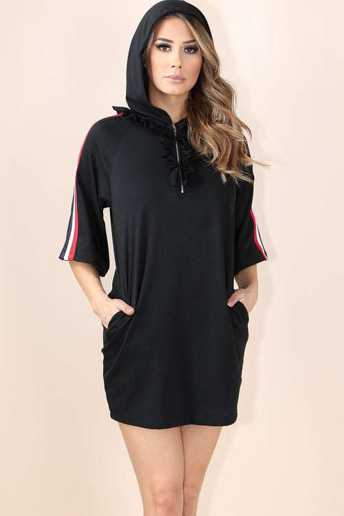 Wishing on me black Hoodie Dress
