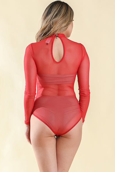 Meshy Alvy Red Bodysuit