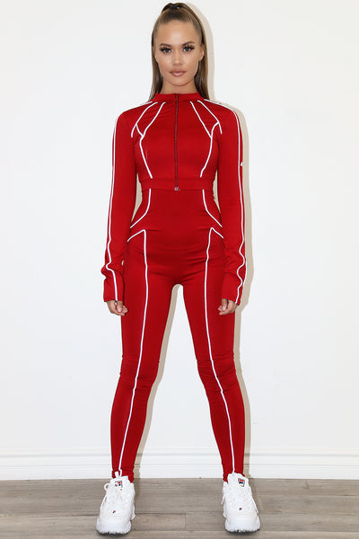 Lea Piped Red Jumpsuit (w/ jacket)