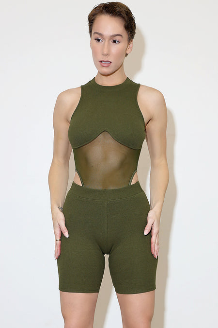 Olive ribbed Set